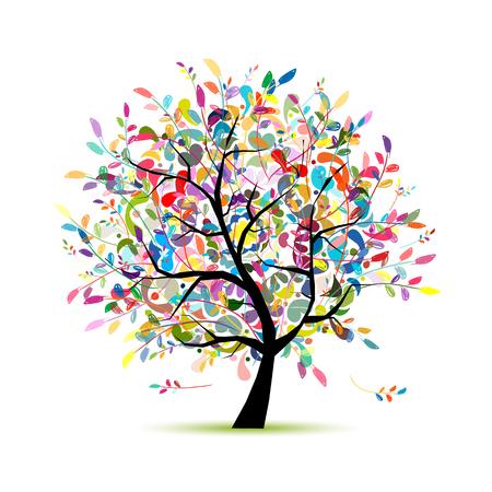 Ilustración de Colorful art tree for your design. Vector illustration - Imagen libre de derechos