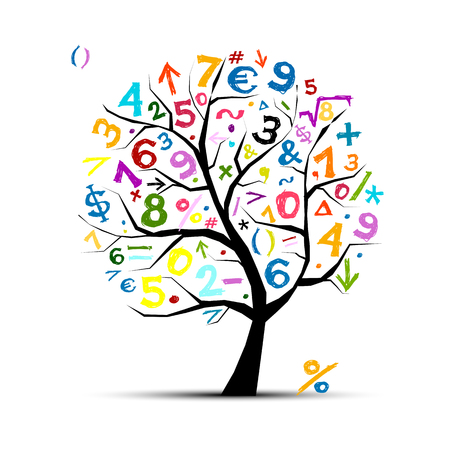Ilustración de Art tree with math symbols for your design - Imagen libre de derechos