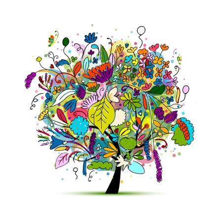 Ilustración de Floral tree for your design. illustration - Imagen libre de derechos
