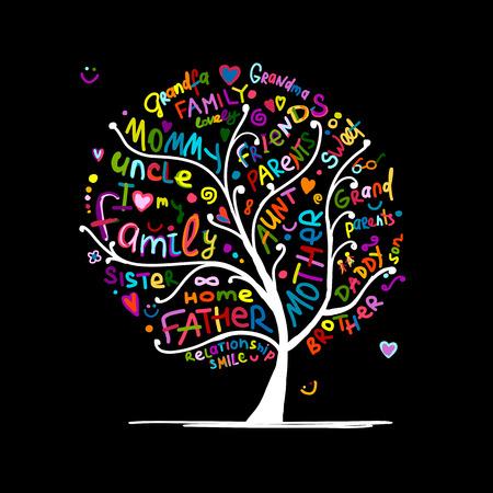 Illustration pour Family tree sketch for your design - image libre de droit
