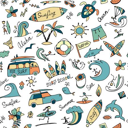 Illustration pour Surfing seamless pattern, sketch for your design - image libre de droit