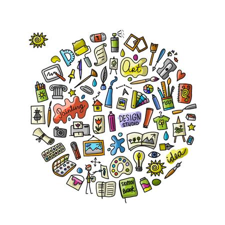 Illustration pour School of drawing, icons set for your design - image libre de droit