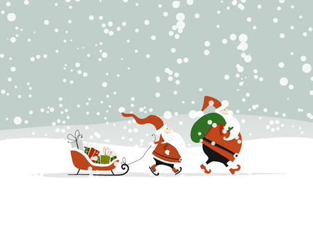 Illustration for Santa brothers in winter forest. Christmas card - Royalty Free Image