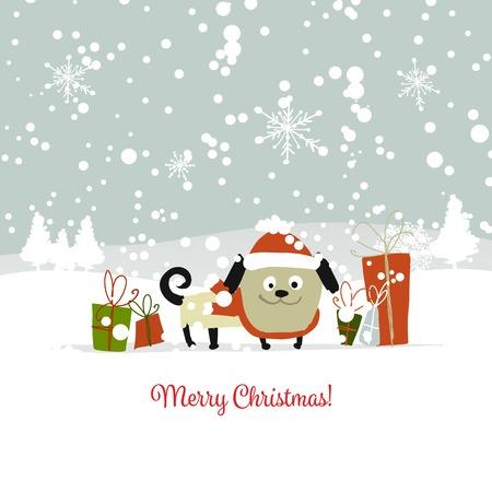 Christmas card, santa dog with gifts. Symbol of 2018 Vector illustration.