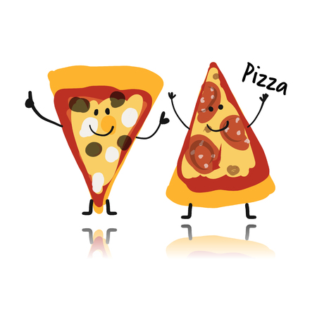 Illustration for Pizza slices character, sketch for your design illustration. - Royalty Free Image