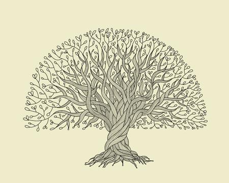 Ilustración de Big tree with roots for your design - Imagen libre de derechos