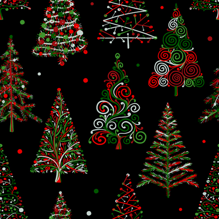 Illustration pour Christmas trees, seamless pattern for your design. Vector illustration - image libre de droit