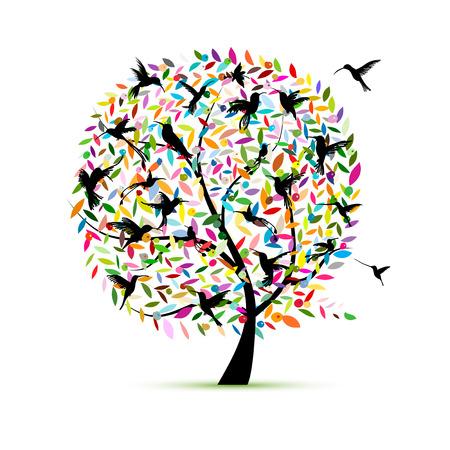 Ilustración de Hummingbird tree, sketch for your design - Imagen libre de derechos