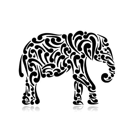 Ilustración de Elephant ornate, sketch for your design. Vector illustration - Imagen libre de derechos