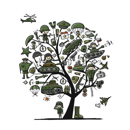 Military tree, sketch for your design. Gift card for men. Vector illustration