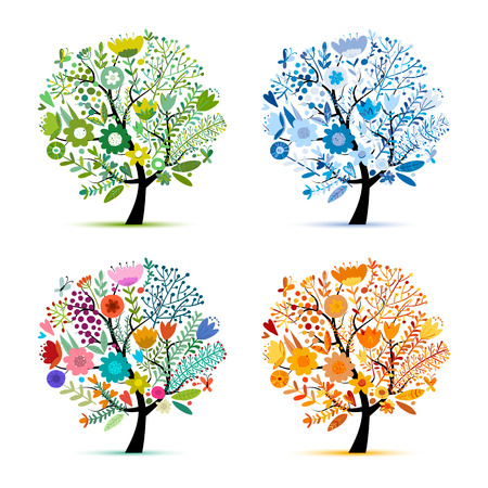 Ilustración de Four seasons, floral colorful tree. Sketch for your design. Vector illustration - Imagen libre de derechos