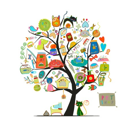 Ilustración de Pet shop, art tree for your design - Imagen libre de derechos
