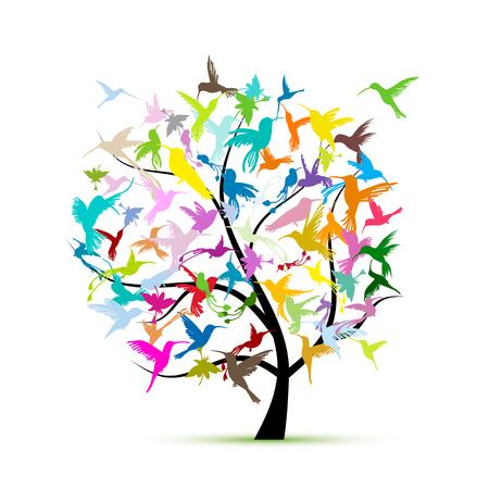 Hummingbird tree, sketch for your design. Vector illustration