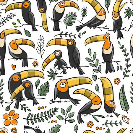 Illustration pour Toucans, paradise tropical bird. Seamless pattern for your design. Vector illustration - image libre de droit