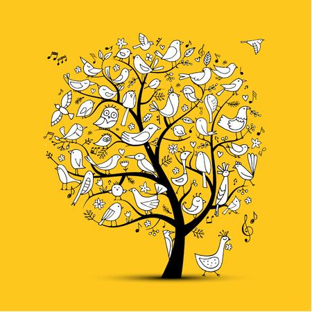 Illustration pour Tree with birds, sketch for your design - image libre de droit