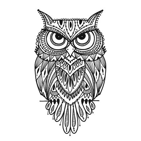 Illustration pour Ornate owl, zenart for your design - image libre de droit