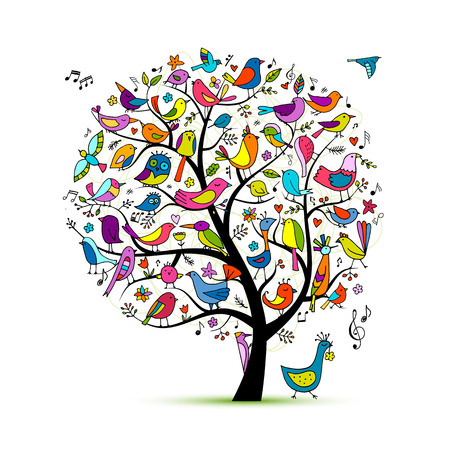 Ilustración de Tree with birds, sketch for your design - Imagen libre de derechos