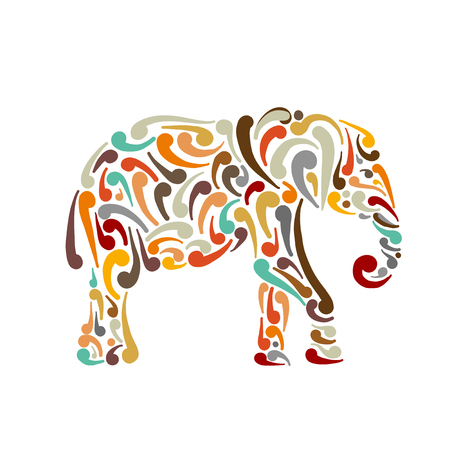 Illustration pour Elephant ornate, sketch for your design. Vector illustration - image libre de droit
