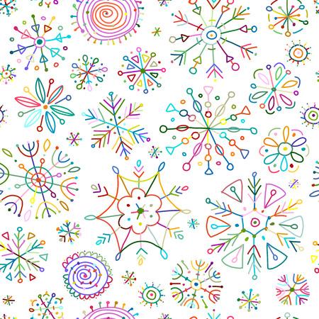 Ilustración de Hand drawn snowflakes, seamless pattern for your design. Vector illustration - Imagen libre de derechos