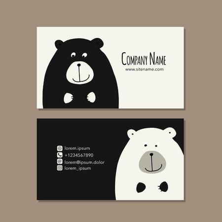 Illustration pour Card design with funny bear - image libre de droit