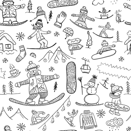 Illustration pour Snowboard time, seamless pattern for your design. Vector illustration - image libre de droit