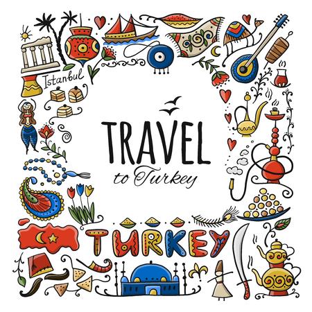 Illustration pour Travel to Turkey. Greeting card for your design - image libre de droit