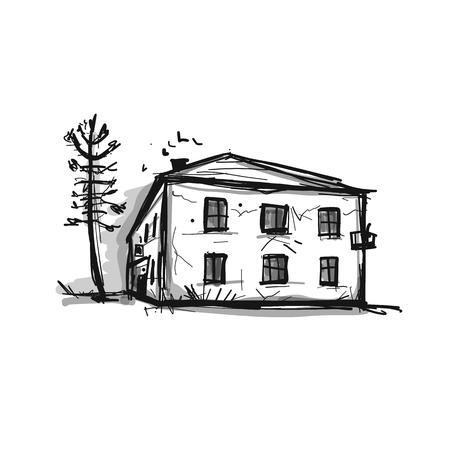 Illustration pour Old house, sketch for your design - image libre de droit