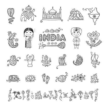 Illustration pour India, icons set. Sketch for your design - image libre de droit