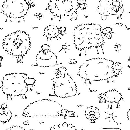 Illustration pour Flock of sheeps, seamless pattern for your design. Vector illustration - image libre de droit