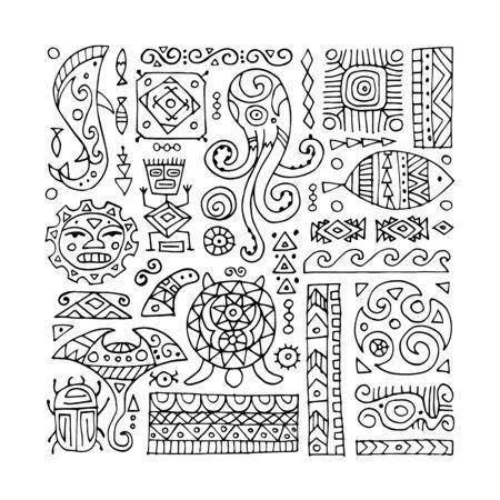 Illustration pour Ethnic handmade ornament for your design. Polynesian style - image libre de droit