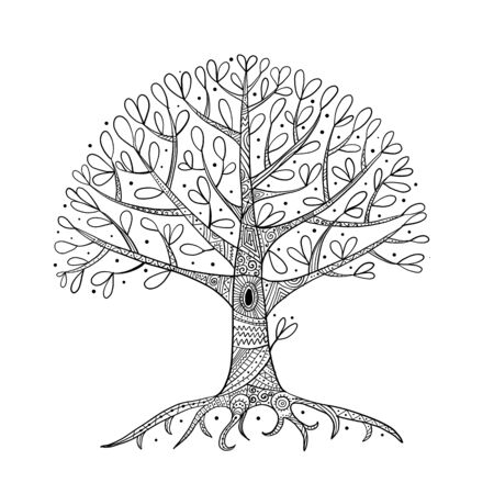 Illustration for Tree with roots for your design - Royalty Free Image