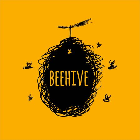 Beehive with bees, sketch, art for your design