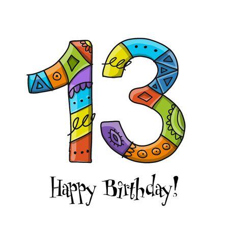 Ilustración de 13th anniversary celebration. Greeting card template - Imagen libre de derechos