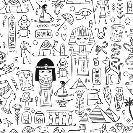 Illustration pour Travel to Egypt. Seamless pattern for your design - image libre de droit