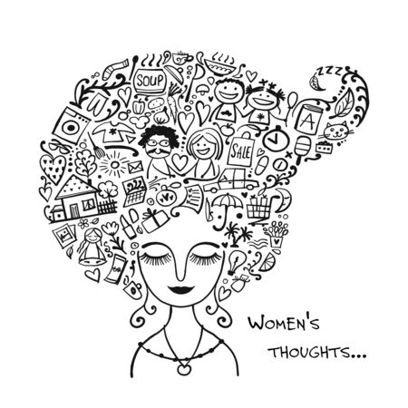 Female thoughts in head about current affairs. Sketch for your design
