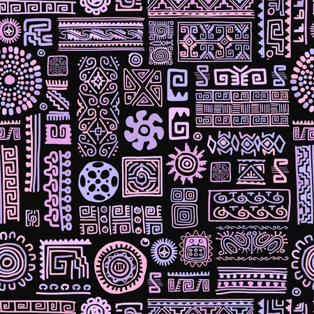 Illustration pour Ethnic handmade lilac ornament, seamless pattern, vector illustration - image libre de droit