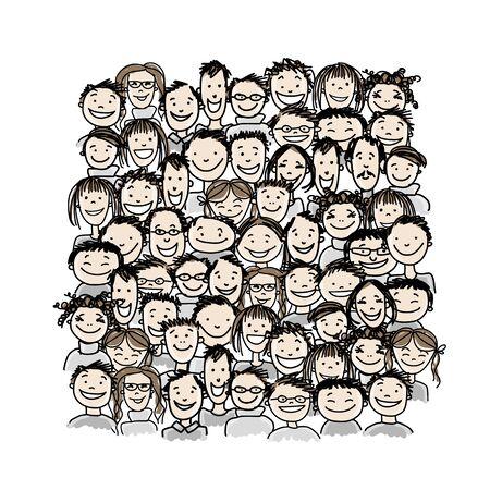 Illustration pour Group of people, sketch for your design - image libre de droit