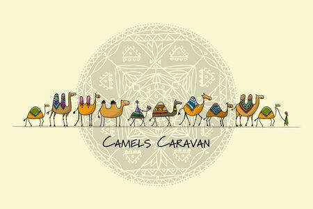 Illustration pour Camels caravan, sketch for your design - image libre de droit