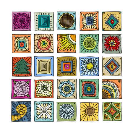Illustration pour Talavera pattern. Indian patchwork. Turkish ornament. Moroccan tile mosaic. Spanish decoration. Ethnic background. - image libre de droit
