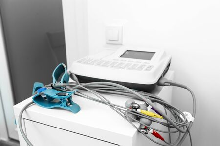Photo for close-up of the sensor electrode ECG machine. - Royalty Free Image