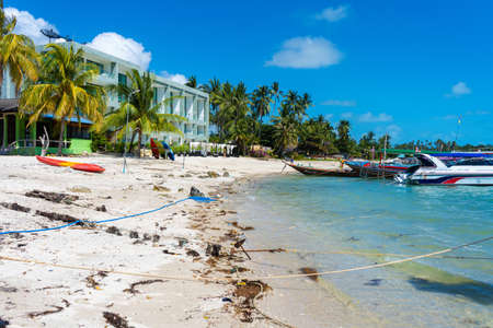 Photo pour Tropical beach landscape. Perfect white sand, green palm trees and blue water. Travel and relaxation in the tropics. - image libre de droit