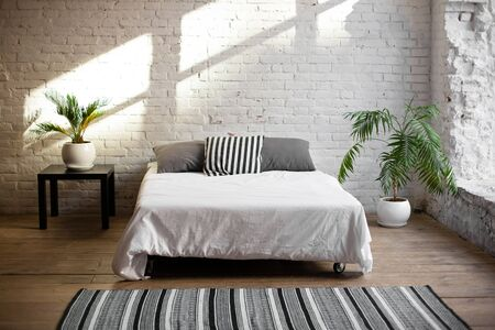 Photo pour Simple modern bedroom interior with living flower near the bed. - image libre de droit