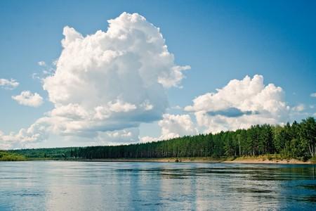 Cumulus above Dep river, the Amur region, Russia
