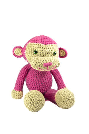 Pink Monkey Knitted doll
