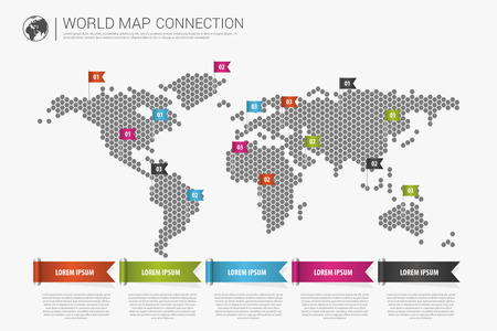 Colorful modern infographic world map connection concept. Vector