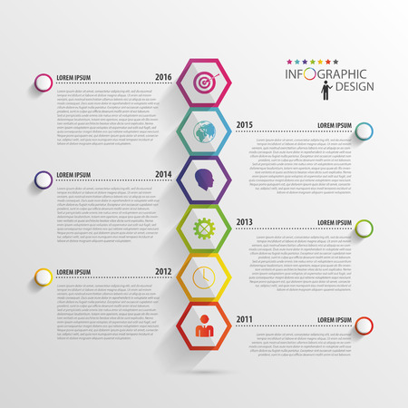 Abstract hexagon infographics. Timeline template. Vectorのイラスト素材