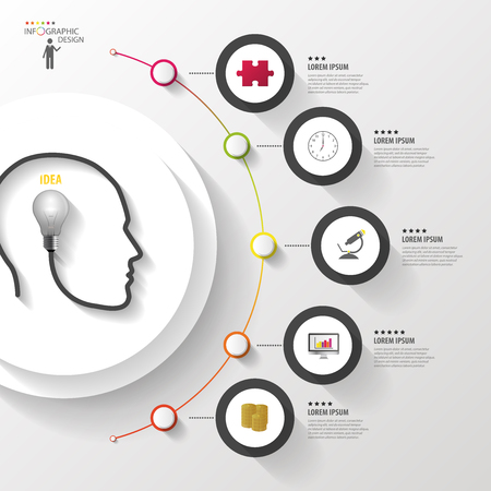 Infographics. Head with bulb. Modern colorful circle with icons. Vector