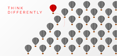 Ilustración de Think differently concept. hot air balloon changing direction. Vector illustration - Imagen libre de derechos
