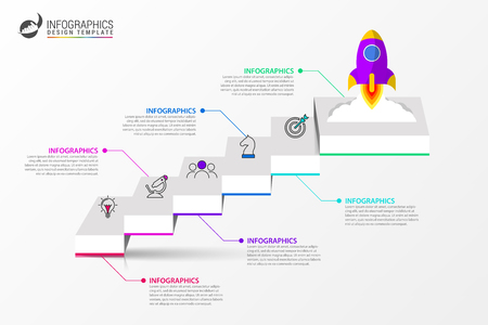 Illustration pour Infographic design template. Creative concept with 6 steps. Can be used for workflow layout, diagram, banner, webdesign. Vector illustration - image libre de droit