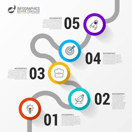 Illustration for Infographic design template. Creative concept with 5 steps. Can be used for workflow layout, diagram, banner, webdesign. Vector illustration - Royalty Free Image